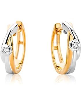 Orovi Damen Diamant Creolen Ohrringe 9 Karat (375) Zweifarb / Weißgold und Rosegold Ohr-Schmuck Brillianten 0.017crt