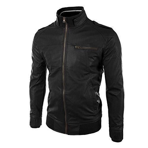 Lanbaosi Männer Vintage -Leder- Reiter- PU -Jacke Slim Fit