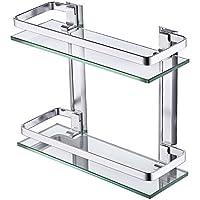 KES Estanteria Bano Aluminio Estante Baño Pared Rectangular Vidrio Templado 2 Pisos Plata, A4126B - mueblesdebanoprecios.eu - Comparador de precios
