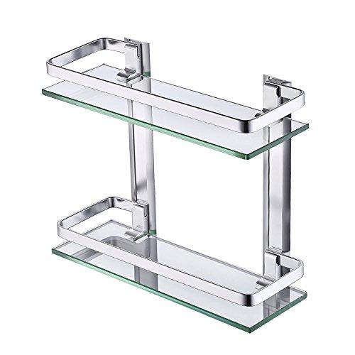 KES Estanteria Bano Aluminio Estante Baño Pared Rectangular Vidrio Templado 2 Pisos Plata, A4126B