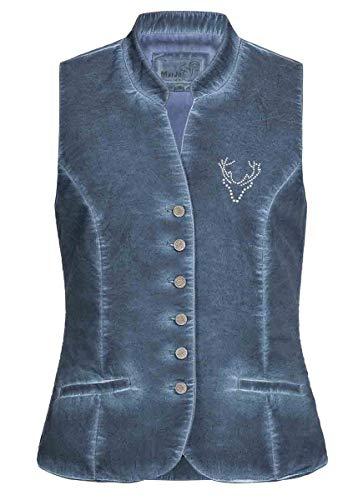 MarJo Trachten Damen Trachten-Mode Mieder Lotti in Blau traditionell, Größe:44, Farbe:Blau