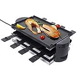 Griglia elettrica per raclette, griglia da tavolo, senza fumo, 380 W – 1500 W, piastra in acciaio con padelle