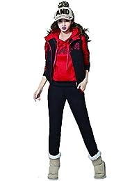 MODETREND Mujer 3pcs Chándal Encapuchada Casual Conjuntos Deportivos con Terciopelo Otoño Invierno Sudadera con capucha Sweatshirt + Hoodie Chaqueta Chaleco + Pantalones