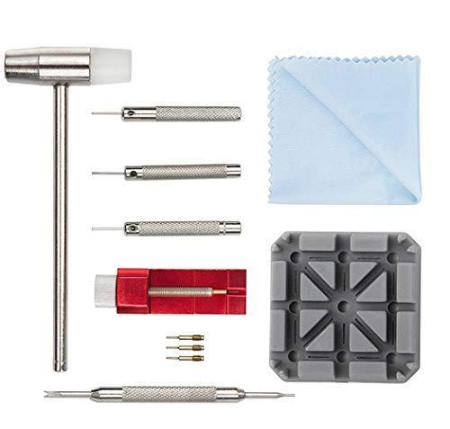 Uhr Reparaturset Uhrenarmband Werkzeug - 11tlg Uhrenwerkzeug für zum Armband kürzen Edelstahlarmband Stifte Stiftaustreiber Rollenbandkürzer Hammer Uhr Uhrenwerkzeug Uhrmacher Set (11tlg)