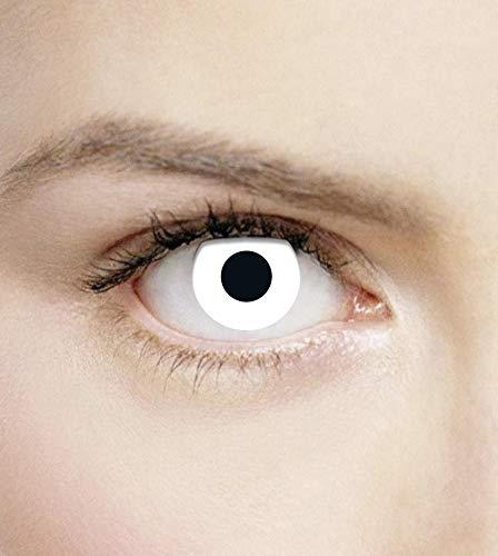 PHANTASY Eyes® Farbige Kontaktlinsen, Ohne Stärke (White out) Devil/Weiß Zombie/Cosplay perfekt zum Halloween und Karneval, Jahres Linsen, 1 Paar crazy fun Contact linsen + Kontaktlinsenbelälter!