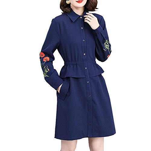 QUNLIANYI Kleid Spitze Plus Größe Herbst Kleider für Frauen Plump Langarm Knöpfe Marine Blau Kleid Oversize 4XL 5XL Bestickt Kleid XL