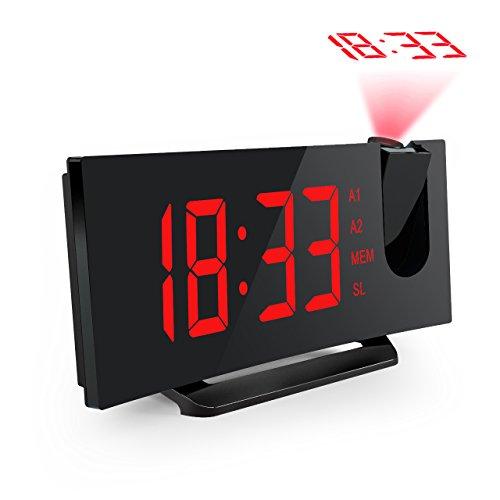 【Neue Version】Projektionswecker, Mpow FM Radiowecker/Radiowecker mit Projektion/Uhrenradio/digitaler Wecker, Dual-Alarm mit USB-Ladeanschluss, 5\'\' große LED-Anzeige mit Dimmer, 12/24-Stunden, Datensicherung mit Batterie am Stromausfall.