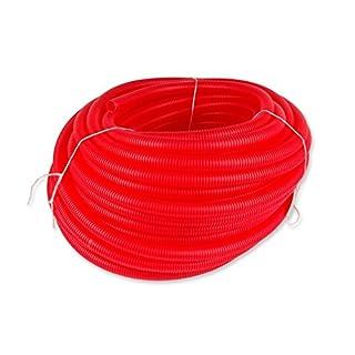 Rot Kabelschutzrohr Coil 23mm innen Durchmesser–50m Länge Gerippter Flexible, runde Tube Rolle Wellrohr Polypropylen Flex Kabel R23/50