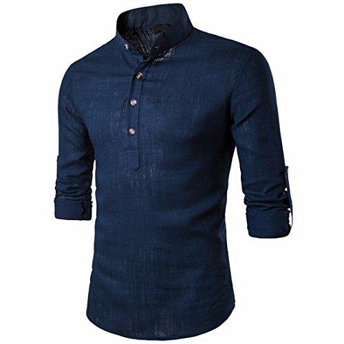 T-shirt-männer 3 Sleeve 4 (QIYUN.Z Herren Ständerkragen Roll-up Langarm Henley Hemden Casual Leinen Tops)