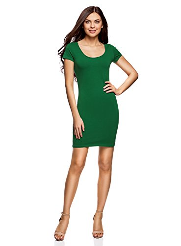 oodji Ultra Damen Enges Jersey-Kleid, Grün, DE 36 / EU 38 / S Grüne Mini-kleid