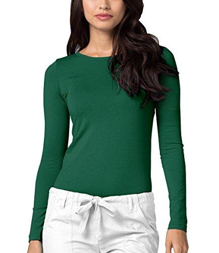 Adar Womens Comfort Long Sleeve T-Shirt Underscrub Tee - 2900 - Hunter Green - ()