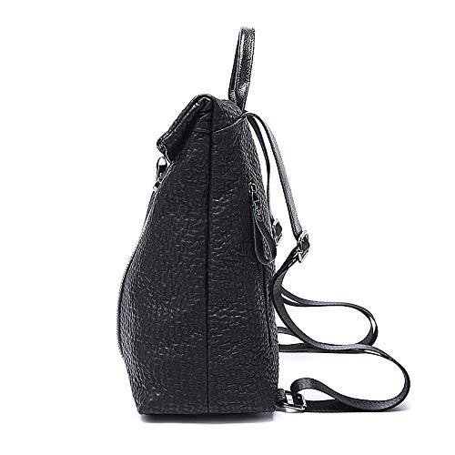 Leder-Rucksack, Damen, Schaffell-Handtasche, weiches Leder, Rucksack, Wild-Mode, Frauentaschen, schwarz, Länge x Breite x Höhe_ 32 x 12 x 32 cm