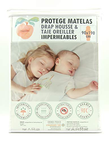 Protège matelas / alèse-90x190 cm + Taie Oreiller -PEACHSKIN-100%...