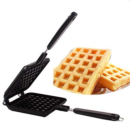 Waffle Maker Mini FáCil De Limpiar, Gofres Belgas Material De FundicióN A PresióN De Aluminio, Con Mango Aislado De PláStico, Recubrimiento Antiadherente De Doble Cara,Black