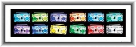1art1® Tape Decks Póster Impresión Artística con Marco (Madera DM) - Ghetto Blaster General U.s.a (95 x 33cm)