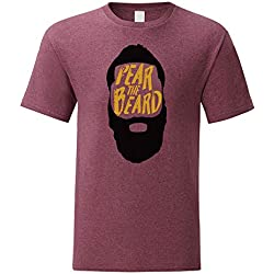 LaMAGLIERIA Camiseta Hombre Harden - Fear The Beard - T-Shirt 100% algodòn, L, Bordeaux