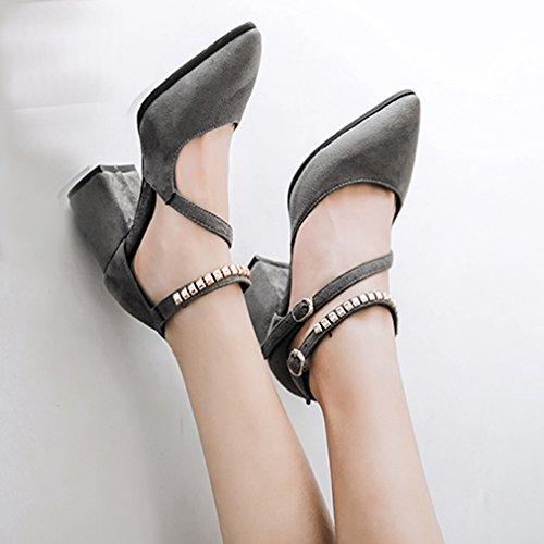 YE Damen Chunky Heels Pumps Knöchelriemchen Spitze High Heels mit Schnalle und Metallem Schmuck Blockabsatz 8cm Schuhe Grau