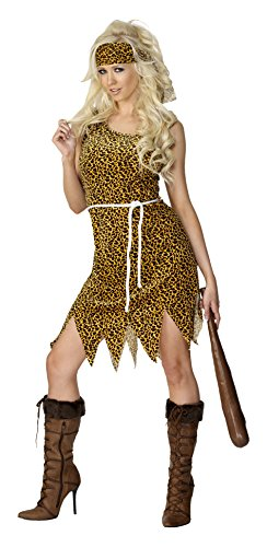 Smiffys Adult Women s Cavewoman Costume  Dress  Headband and Belt  Caveman  Serious Fun  Size  S  22452