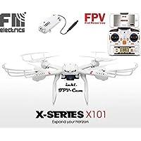 fm-electrics MJX X101w - Quadrocopter mit Wifi FPV, Riesen Reichweite, Headless Mode und One-Key Return, Sonderedition, Looping Funktion, C4010 Wlan Kamera in HD, XXL