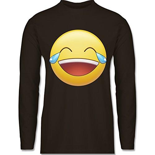 Shirtracer Statement Shirts - Tränen Lachen Emoji - Herren Langarmshirt Braun