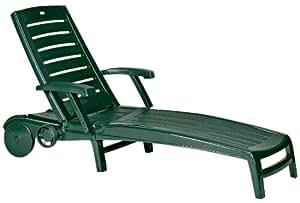 jardin 212162 chaise longue sparte dossier r glable en plastique vert jardin. Black Bedroom Furniture Sets. Home Design Ideas
