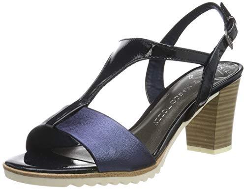 MARCO TOZZI 2-2-28732-22, Sandali con Cinturino alla Caviglia Donna, Blu (Navy Comb 890), 36 EU