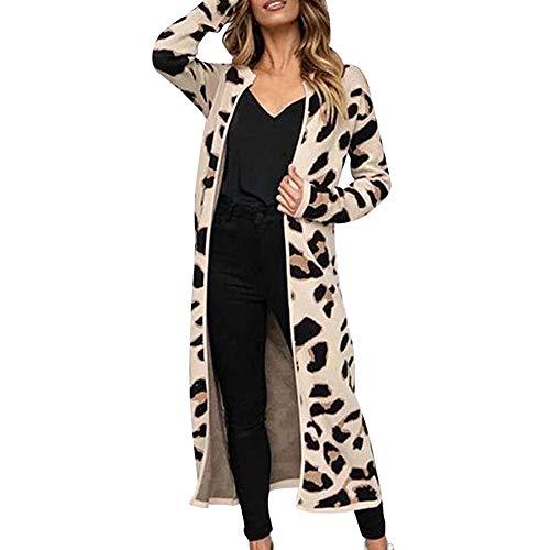 TOPKEAL Jacke Mantel Damen Herbst Winter Sweatshirt Steppjacke Kapuzenjacke Lange Ärmel Hoodie Leopard Druck Pullover vorne offen Outwear Coats Mode Tops