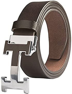 Menschwear Men's Belts Full Grain Leather Steel Slide Buckle Adjustable Length