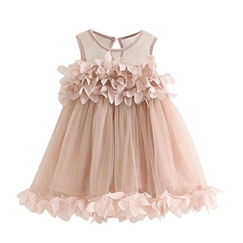feiXIANG mädchen Prinzessinnenkleid Spleißen Röcke ärmellose Kleider Sweet Weste Kleid Prinzessin Röcke Fest Ballkleid Overall solide Tutu Kleid für Kinder (100, Pink) -