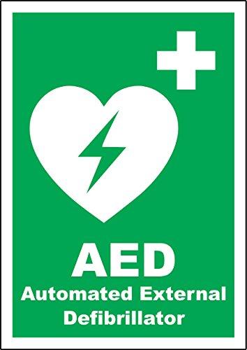 Automatische Defibrillator (Hinweisaufkleber in englischer Sprache
