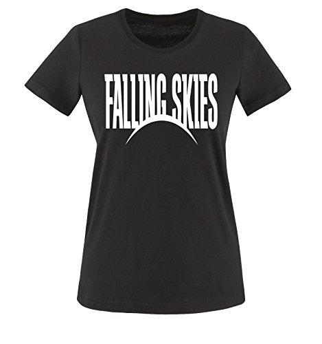 Falling Skies - Damen Frauen T-Shirt Gr. XS bis XXL Diverse Farben Schwarz / Weiss