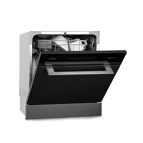 Klarstein Amazonia 8 Myst - Teilintegrierte Spülmaschine, Eco Edition, Effizienzklasse: A+, 60 cm breit, 8 Maßgedecke, Heißlufttrocknung, programmierbar, Schnell-/ ECO-Programm, Edelstahl, schwarz