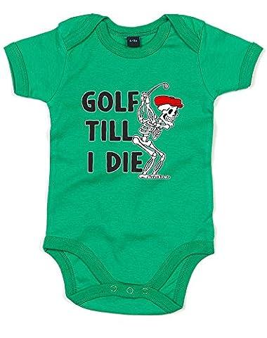 Golf Till I Die, Imprimé bébé grandir - Vert/Noir/Transfert 12-18 Mois