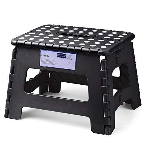 Acko Klapp-Tritthocker aus leichtem Kunststoff, 22,9 cm faltbar, für Kinder und Erwachsene, rutschfeste Klapphocker für Küche, Badezimmer, Schlafzimmer schwarz (Leichter Schwarz Kunststoff)