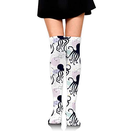 vbcnmbnv Cotton Thigh High Compression Socks, Planet and Sea Animals Pattern Soccer Tube Sock (Animal Planet Tube)