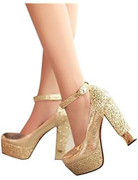 ALUK- Scarpe da sposa - scarpe singole impermeabili high-heeled con scarpe abito da sposa (con alto: 13cm) ( Colore...