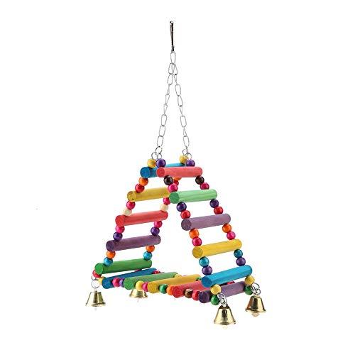 Altalena giocattolo per pappagalli, in legno colorato, triangolo per uccelli, trespolo per uccelli, scalata, scaletta con campanelli, per parrocchetti, calopsitte, ara, cacatua, cacatua