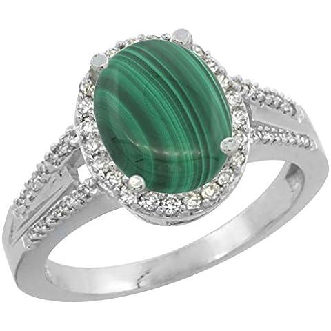 Revoni 14ct de oro blanco de Malaquita Natural 10 x 8 mm Oval diamante anillo de acento