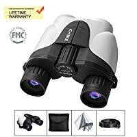 HD Binoculars, Cobiz 10x25 Binoculars compact for kids adults with BAK4 Prism, FMC Lens, Fogproof & Waterproof/Bird Watching, Travel, Hunting, Concerts, Sport/with storage belt (White)