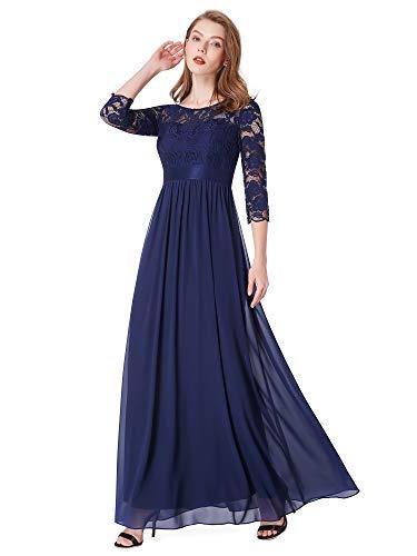 Ever-pretty donna elegante vestiti da matrimonio pizzo abito lunghi vestito formale banchetto sera 50 blu navy