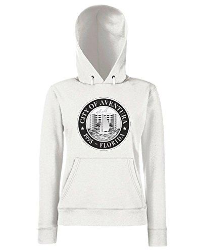 T-Shirtshock - Sweats a capuche Femme TM0031 City of Aventura Florida1 citta Blanc