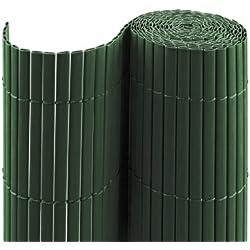 Jarolift PVC Sichtschutzmatte/Sichtschutzzaun für Garten, Balkon und Terrasse, 160 x 1000 cm (Bestehend aus 2 Matten mit je 2x 5m Länge), grün