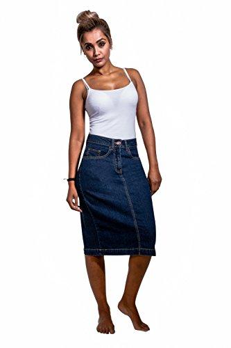 USKEES NANCY Midi-Jeansrock - Darkwash knie lange Jeansrock Damen Mode NANCYDW-18 (Lange Stretch-jeans-rock)