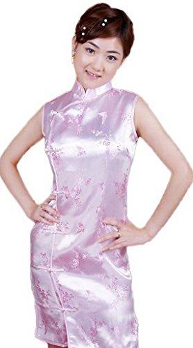Smile YKK Femme Robe Courte Chinois Cheongsam avec Bouton Satin Rose