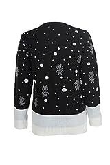 Idea Regalo - Maglione da uomo e da donna per Natale con renna Rudolph, pompon e fiocchi di neve, stile vintage, realizzato a maglia