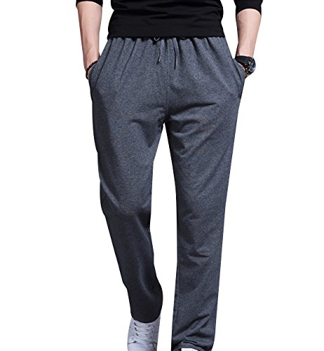 Surenow Pantaloni da Uomo Sportivi Vita Alta Pantalone Tuta Casuale Diritto Chiusura Caulisse Exlarge grigio scuro