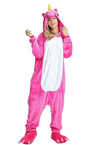 NNDOLL Pyjamas Frauen Männer Einhorn Cosplay Tiere Kostüm Nachthemden Halloween Karneval Mehrfarbig Fuchsie Pegasus XL