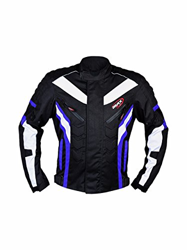 Motorrad Jacke maxfive Adventure Motorrad Racing Sport Touring CE und befürworten alle Wetter Moto tragen blau (Racing-anzug Fox)