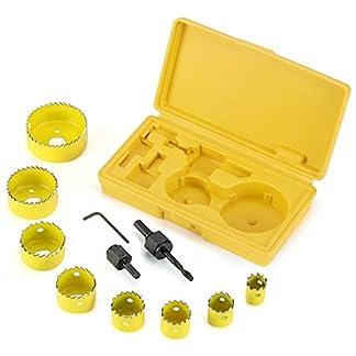 EFANTUER Sierra de corona perforadoras, broca corona estuche, juego coronas taladro para madera, 11 piezas (19 mm – 64 mm)