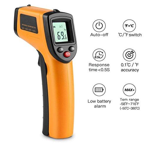 CLKJCAR Berührungslose Digital Laser IR Infrarot-Thermometer,-50 °C ~ 380 °C (-58 °F ~ 716 °F), genaue Messung, für Autos, Zuhause, Büro